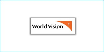 The World Vision logo, black text on a white background with a white star on an orange background in the top right corner